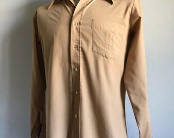 Vintage Men's 70's Tan Shirt, Polyester, Long Sleeve by K Mart (M)