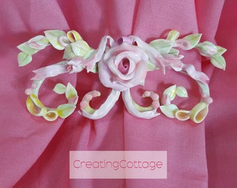 Furniture Applique, Pink Ribbons and Roses, Shabby Chic Overlay, OOAK handmade roses, Destash Discount Sale