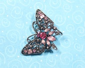 Vintage Butterfly Pin, Vintage Rhinestone Butterfly Brooch, Insect Jewelry, Women's High Fashion Jewelry
