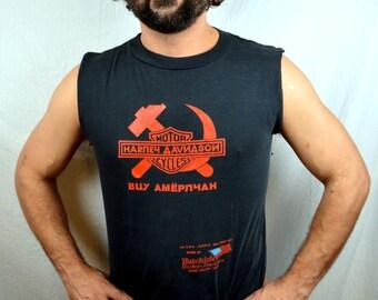 Vintage 1988 Harley Davidson Motorcycle Russia Tee Shirt Tshirt