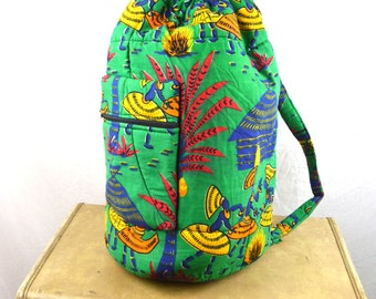 Vintage Rainbow Tribal African Fabric Drawstring Pouch Rucksack Backpack