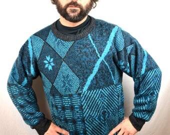 Vintage 80s Ski Blue Geometric Sweater