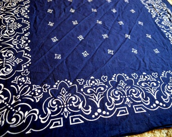 Vintage Fast Color Blue Cotton Bandana Kerchief
