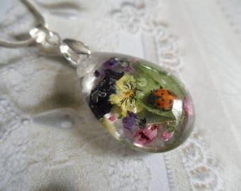 After The Rain-Ladybug,Pansy,Pink Heather,Veronica,Purple Alyssum,Maidenhair Ferns Glass Teardrop Pressed Flower Pendant-Symbolizes Loyalty