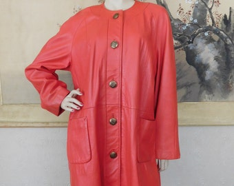 Vintage Red Deerskin Leather New England Leathers Coat Jacket