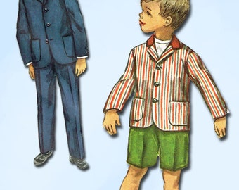 1950s Vintage Simplicity Sewing Pattern 1980 Toddler Boys Suit w Shorts Size 2