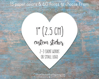"""custom stickers, heart shape 1"""" with you words or logo, envelope seals, favor stickers, personalized  stickers, kraft stickers (S-14)"""