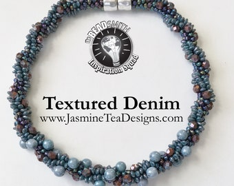 Textured Denim Beaded Kumihimo Necklace, Swirling Blue And Purple Czech Glass And Japanese Seed Beads, Sample Sale, 18 Inch Necklace