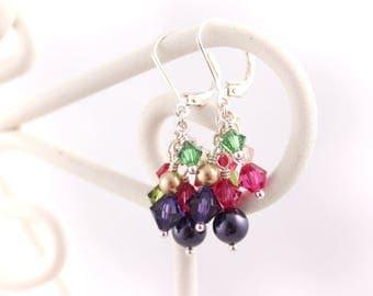 Dahlia Swarovski Cluster Earrings, Gold Purple Pink, Sterling Silver