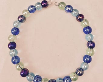 American Girl Sized Choker Necklace Made of Purple Blue and Green Glass Beads