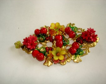 Flower Garden Glass Lucite Gold Tone Brooch