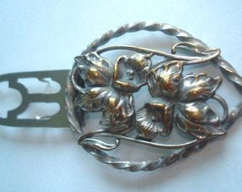 Leaf Flower Silver Gold Tone Fur Clip