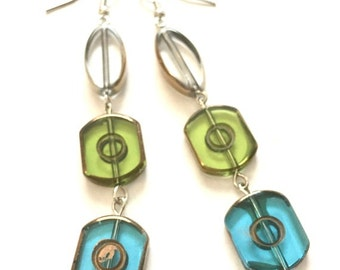 "Earrings - Dangle - Bronze, Turquoise, Green, Clear - Lustre Glass - Geometric - ""Cold Fame"""