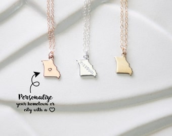 State Charm Pendant Missouri Necklace, Missouri Bracelet, Small Gold Missouri with Heart, Missouri Gold State Bracelet