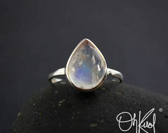 Silver Rainbow Moonstone Teardrop Ring - Last One Left - Marked Down