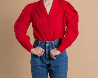 Vintage 70s Red Poet Sleeve Blouse | S