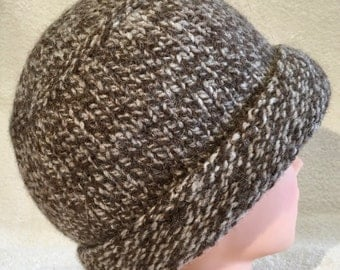 Chocolate and cream tweed hand knit felted wool beanie hat with narrow brim
