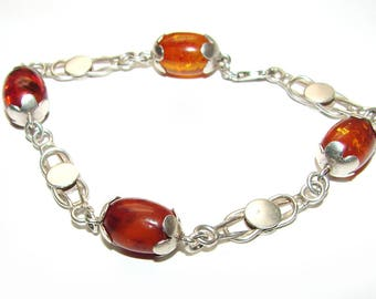 Baltic Amber Ancient Roman Heracles Knot Sterling Silver Larger Size Vintage Fine Bracelet
