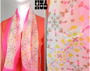 Vintage 60s Japan Bright Pink, Blue, Yellow, Brown and White Geometric Pattern Sheer Long Scarf