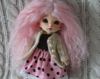 Cotton Candy Pink mohair wig for Pukifee / Lati Yellow / other small doll