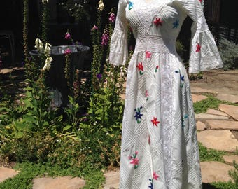 Reserved for Plata only!   Vintage Mexican Wedding Dress M Embroidered Festival Boho Hippie