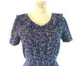Vintage 1970s Dress Navy Blue Ivy Floral Print Prairie 1940s Inspired Midi Dress S/M