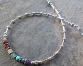 7 Chakra Anklet - Chakra Gemstones & Silver - Chakra/Yoga/Metaphysical/New Age Jewelry
