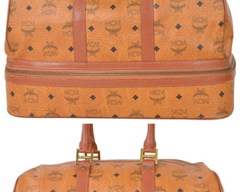 MCM Visetos Cognac 2 Compartment Carry On Weekend Duffle Travel Bag Luggage