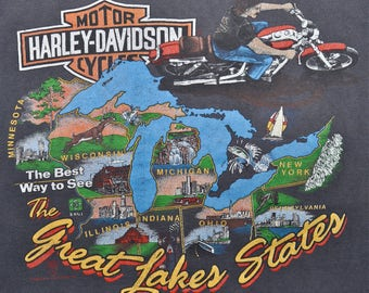 Vintage 80s 1989 HARLEY DAVIDSON Motorcycles Great Lakes WISCONSIN T Shirt M L