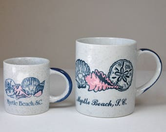 Vintage Myrtle Beach Mug and Demitasse Cup Myrtle Beach South Carolina S.C. Souvenir Mug Seashells Seagulls 1980s