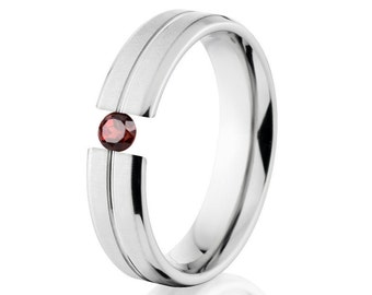 Tension Set Ring, Uniquley You, 5mm,  Titanium Ring, Garnet, 5B1G-XB-Tension
