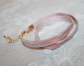 Velvet choker necklace,Pink Choker Necklace,Gift to her,Powder Pink Blush,Velvet band,Bohemian,soft,For Her,Adjustable Hippie Necklace