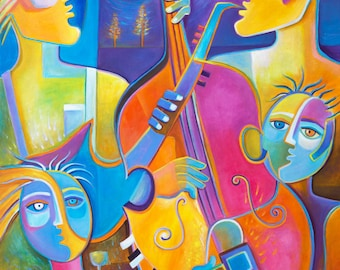 Abstract Art Modern Music painting Original Acrylic 30x36 Marlina Vera Night Jazz Musicians Musical Artwork Musicien peinture Large Pop Art
