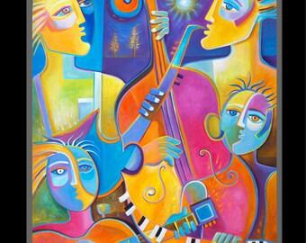 Abstract Art Modern Music painting Original Acrylic 30x36 Marlina Vera Night Jazz Musicians Musical Artwork Musicien peinture Large Pop Art