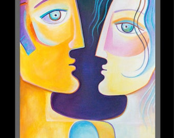 Abstract  Modern Art Original Acrylic Painting large canvas Marlina Vera Fine Art Gallery Couple love Figurative Contemporary Pop artwork