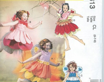 Child's/Girls' Fairy Costume Pattern by McCall's #6813,Sizes: 6, 7, 8 Uncut