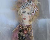 Regina brooch-- mixed media hand painted and beaded brooch wearable art