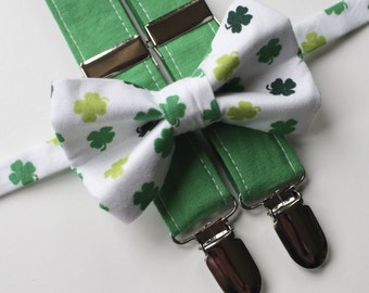 Little and Big Guy Bow tie and Suspender SET - St Patrick's Day- Shamrocks -(Newborn-Adult)