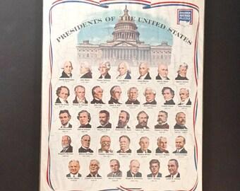 Vintage U. S. Presidents Puzzle Litho George Washington to Lyndon Johnson Presidents of the United States Puzzle