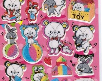 Shiny Gold Seal Kawaii Bear & Friends Sticker Sheet