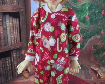 Red Christmas Toss Knit Footie Pajamas for Kaye Wiggs' Layla, Nyssa, Miki, Hope BJD by ERC
