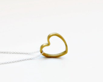Gold heart necklace, gift for mom, brass heart pendant, open heart, mixed metals, minimal, modern, romantic jewelry - Noelle