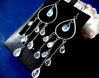 Sterling Silver and Natural Rainbow Moonstone briolettes Chandelier Earrings