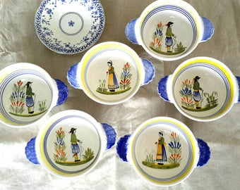 French Henriot Quimper Breton Bowl (set of 6) Hand painted pottery bowls from Brittany France Beautiful French kitchen and dining decor