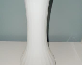 Large Tall Textured Milk Glass White Vase
