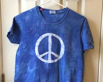 Peace Sign Shirt, Blue Peace Shirt, Womens Peace Sign Shirt, Ladies Peace Sign Shirt, Batik Peace Sign Shirt (Ladies S)