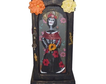 Frida Kahlo Day of the Dead Doll - Skeleton Doll - Frida Kahlo Shadow Box - Paper Clay Art Doll