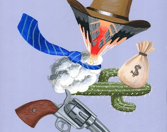 Original painting: Bag o Money, part of the Art of War series triptych