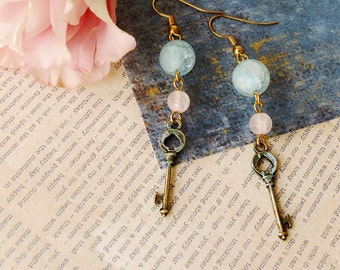 Blue and Pink  Key Dangle Earrings  Alice in Wonderland