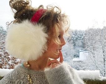 Christmas earmuffs, white ear warmers with read headband, faux fur earmuffs, Christmas gift, winter accessory, cute gift, white muffs.